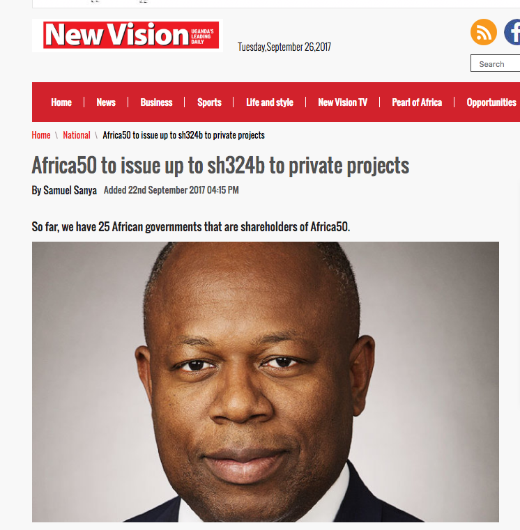 New Vision interview: Africa50 to issue up to sh324b to private projects