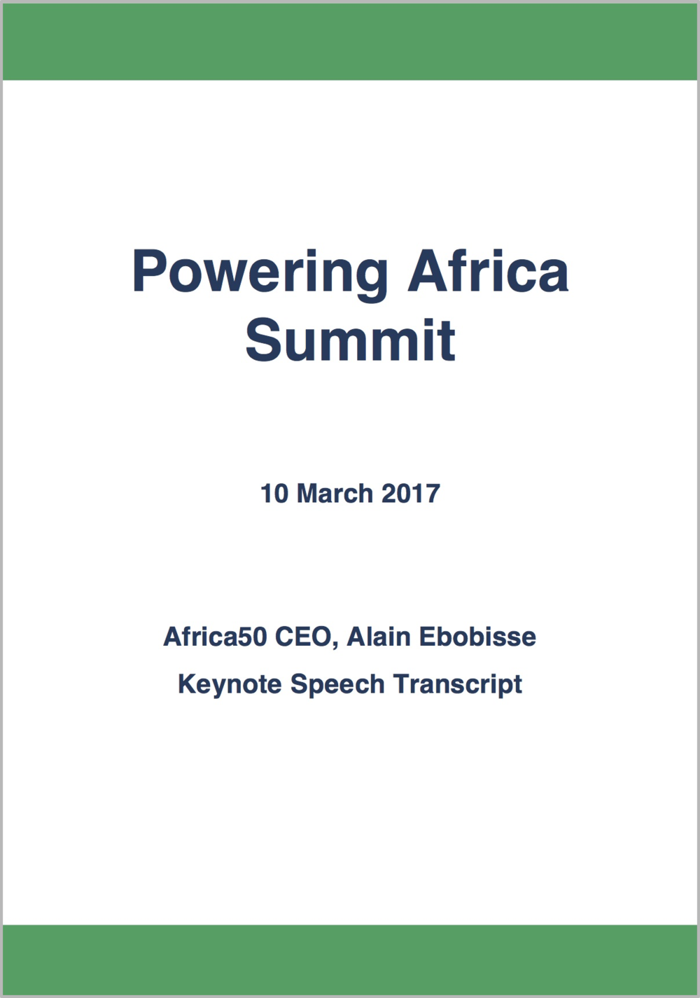 Powering Africa Summit