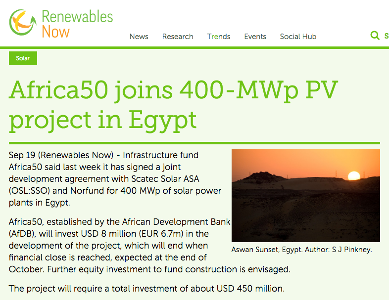 Renewables Now: Africa50 joins 400-MWp PV project in Egypt