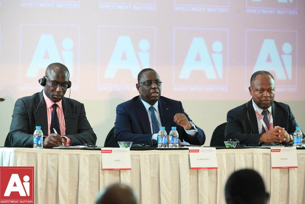 President Sall with Alain Ebobisse and Africa investor CEO Hubert Danso