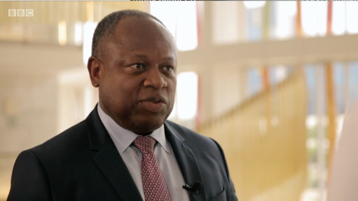 A still from the BBC video showing Africa50 chief executive Alain Ebobbise