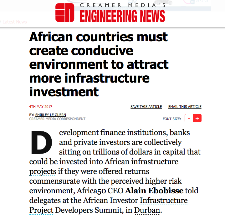 African countries must create conducive environment to attract more infrastructure investment