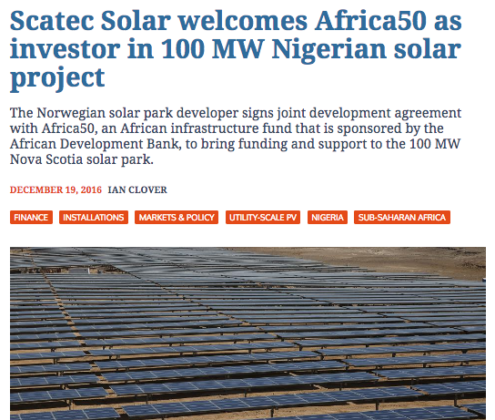 Scatec Solar welcomes Africa50 as investor in 100 MW Nigerian solar project